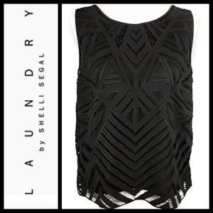 Black geometric sleeveless blouse